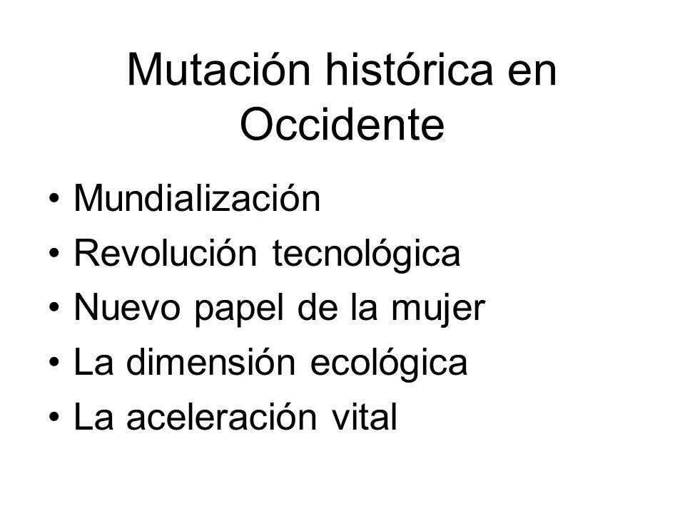 Mutación histórica en Occidente Mundialización Revolución tecnológica Nuevo papel de la mujer La dimensión ecológica La aceleración vital
