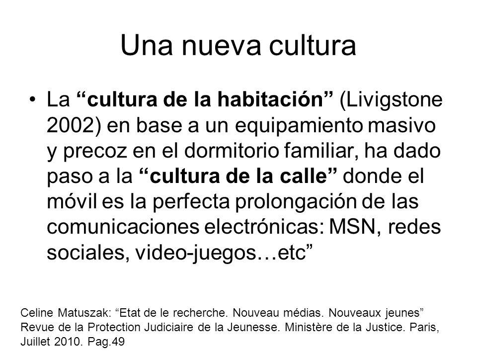 Una nueva cultura La cultura de la habitación (Livigstone 2002) en base a un equipamiento masivo y precoz en el dormitorio familiar, ha dado paso a la