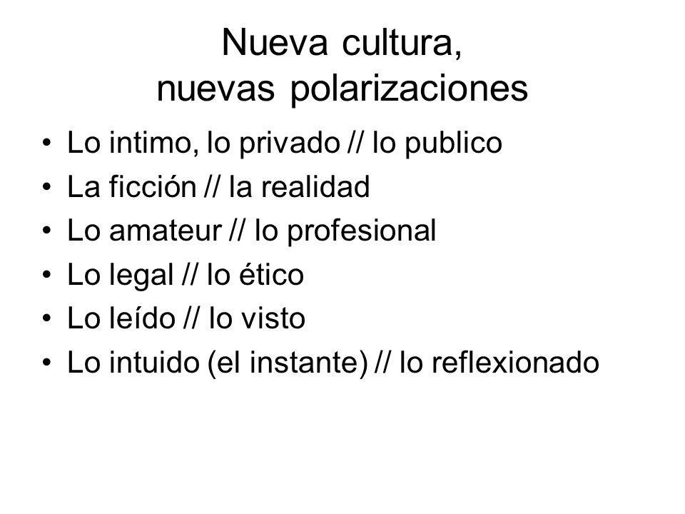 Nueva cultura, nuevas polarizaciones Lo intimo, lo privado // lo publico La ficción // la realidad Lo amateur // lo profesional Lo legal // lo ético L