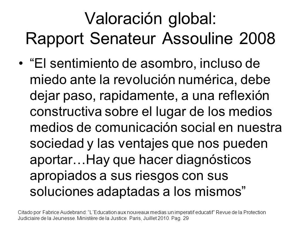 Valoración global: Rapport Senateur Assouline 2008 El sentimiento de asombro, incluso de miedo ante la revolución numérica, debe dejar paso, rapidamen