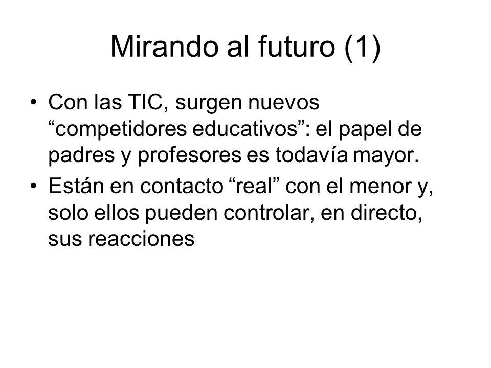 Mirando al futuro (1) Con las TIC, surgen nuevos competidores educativos: el papel de padres y profesores es todavía mayor. Están en contacto real con