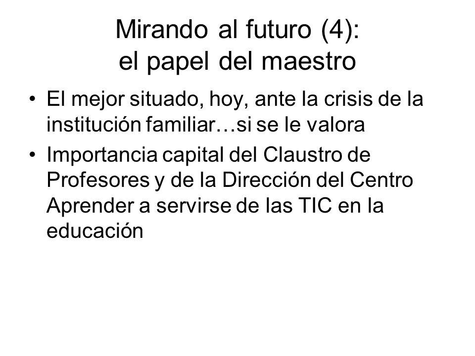 Mirando al futuro (4): el papel del maestro El mejor situado, hoy, ante la crisis de la institución familiar…si se le valora Importancia capital del Claustro de Profesores y de la Dirección del Centro Aprender a servirse de las TIC en la educación
