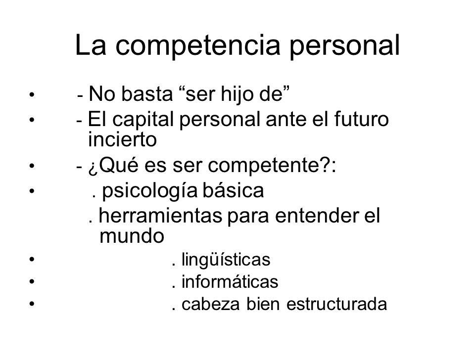 La competencia personal - No basta ser hijo de - El capital personal ante el futuro incierto - ¿ Qué es ser competente?:. psicología básica. herramien