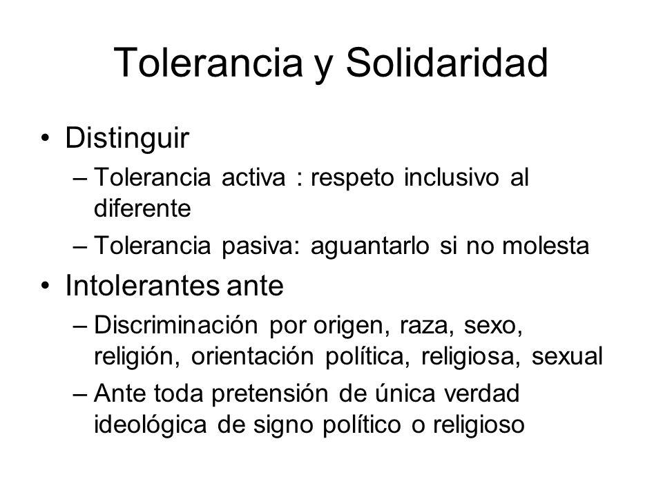 Tolerancia y Solidaridad Distinguir –Tolerancia activa : respeto inclusivo al diferente –Tolerancia pasiva: aguantarlo si no molesta Intolerantes ante