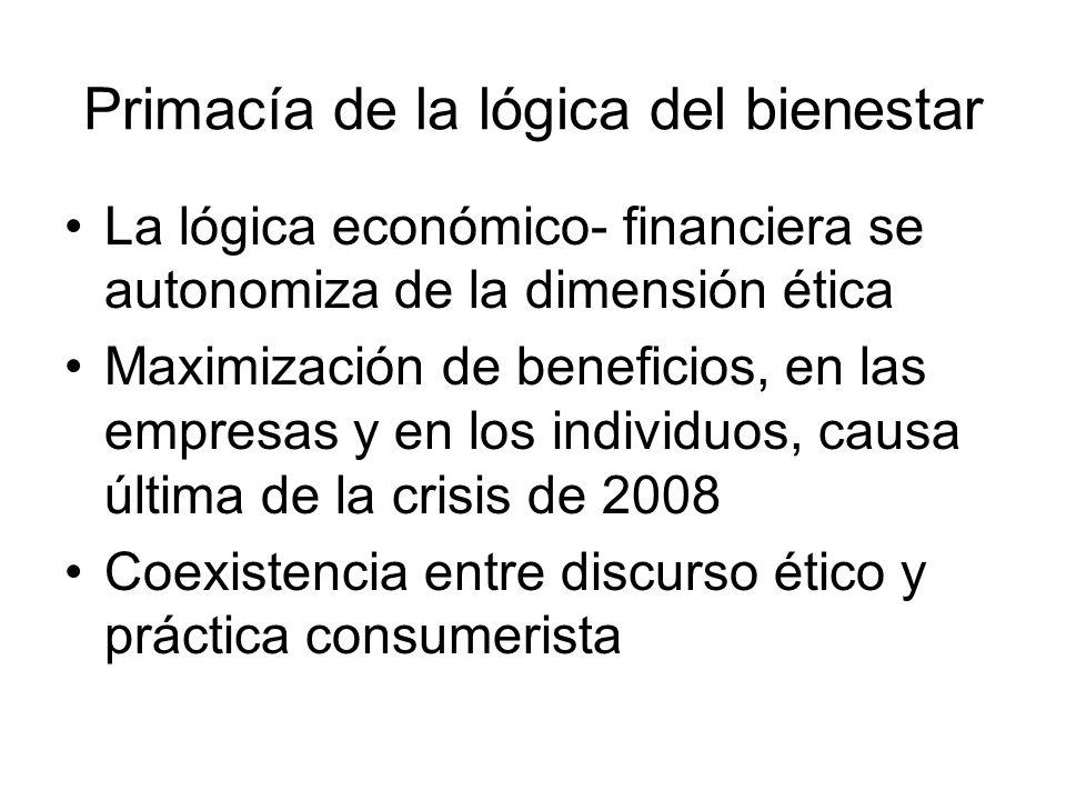 Primacía de la lógica del bienestar La lógica económico- financiera se autonomiza de la dimensión ética Maximización de beneficios, en las empresas y en los individuos, causa última de la crisis de 2008 Coexistencia entre discurso ético y práctica consumerista