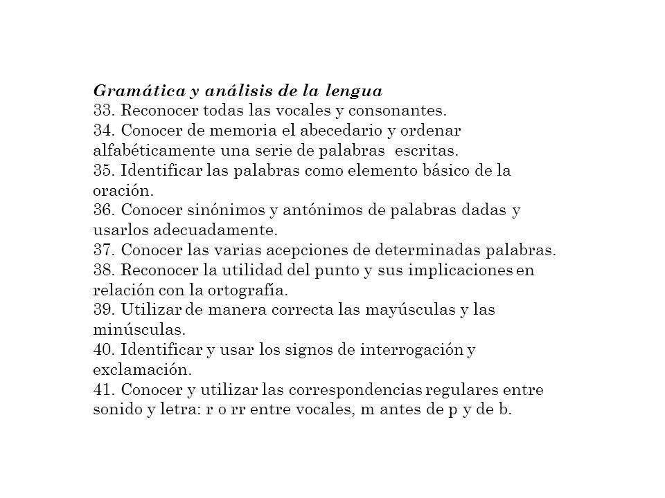Gramática y análisis de la lengua 33. Reconocer todas las vocales y consonantes. 34. Conocer de memoria el abecedario y ordenar alfabéticamente una se