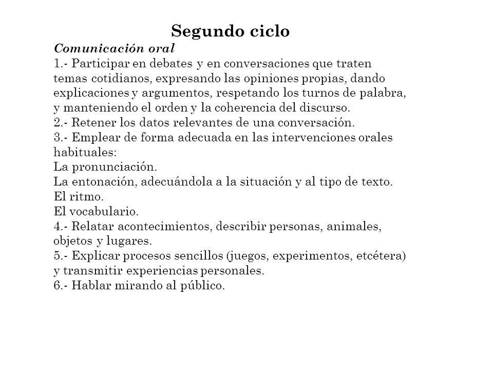 Segundo ciclo Comunicación oral 1.- Participar en debates y en conversaciones que traten temas cotidianos, expresando las opiniones propias, dando exp