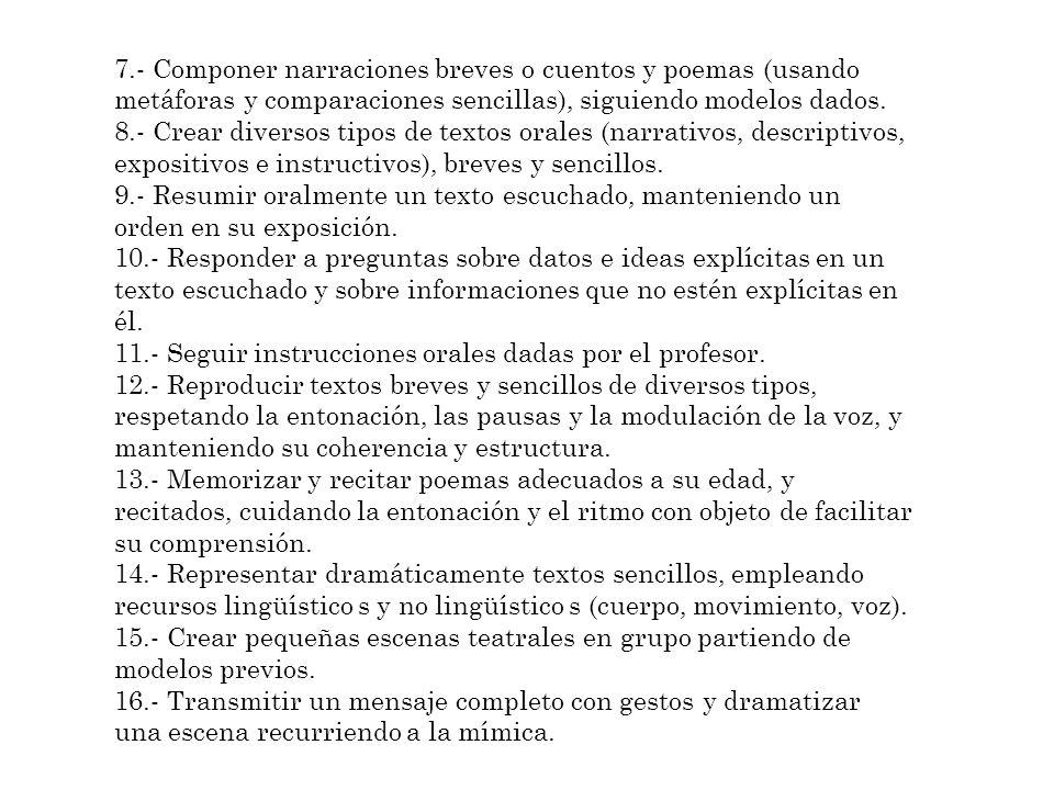 7.- Componer narraciones breves o cuentos y poemas (usando metáforas y comparaciones sencillas), siguiendo modelos dados. 8.- Crear diversos tipos de