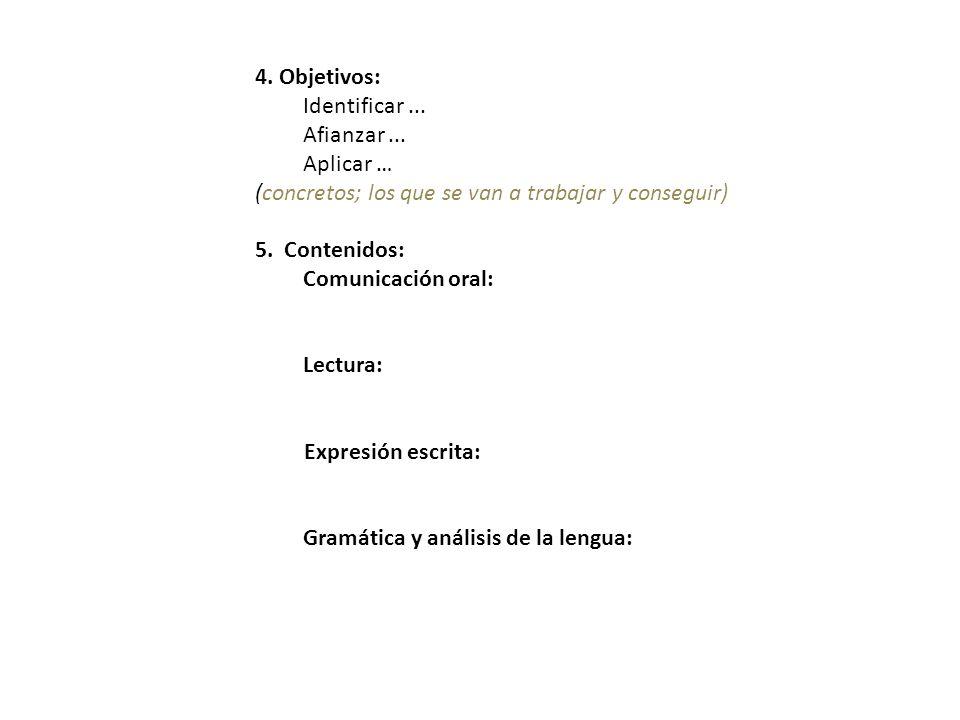 4. Objetivos: Identificar... Afianzar... Aplicar … (concretos; los que se van a trabajar y conseguir) 5. Contenidos: Comunicación oral: Lectura: Expre