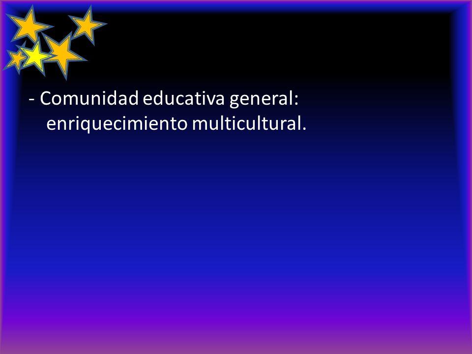 - Comunidad educativa general: enriquecimiento multicultural.