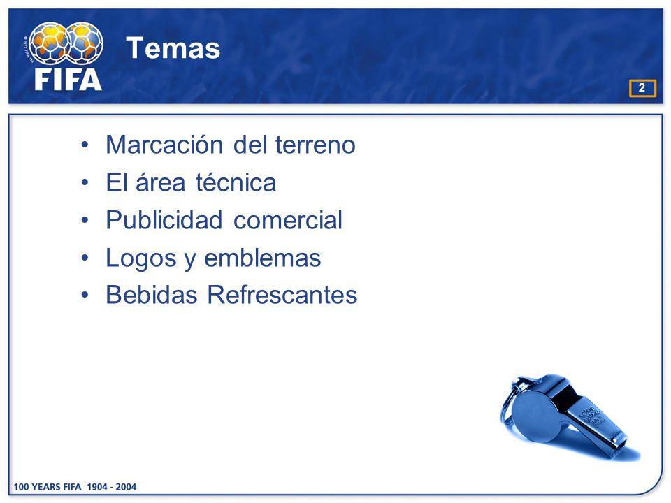 2 Temas Marcación del terreno El área técnica Publicidad comercial Logos y emblemas Bebidas Refrescantes