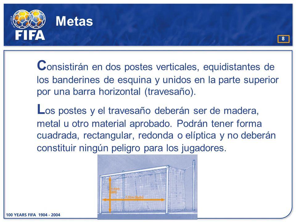 8 Metas C onsistirán en dos postes verticales, equidistantes de los banderines de esquina y unidos en la parte superior por una barra horizontal (trav