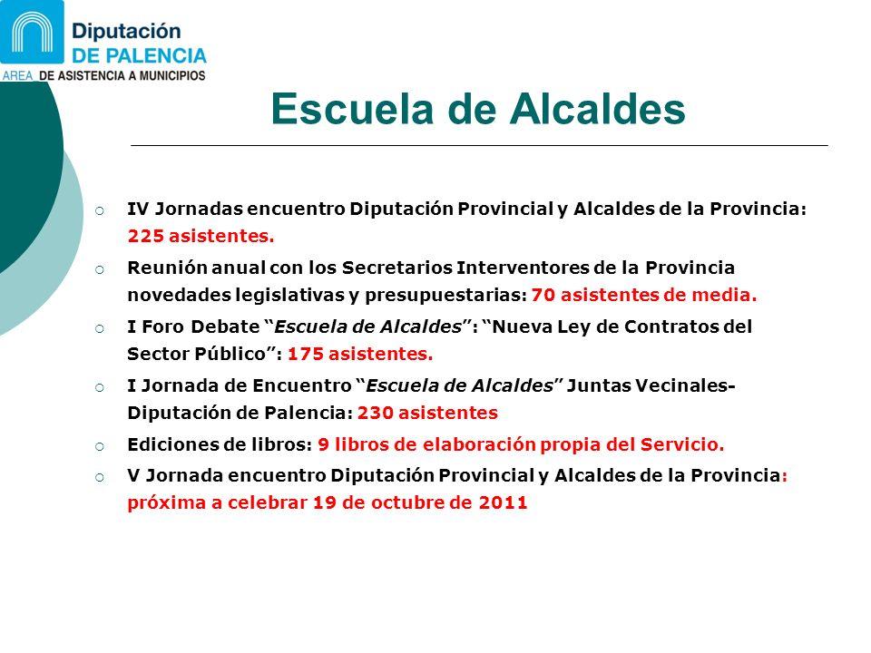 Escuela de Alcaldes IV Jornadas encuentro Diputación Provincial y Alcaldes de la Provincia: 225 asistentes. Reunión anual con los Secretarios Interven