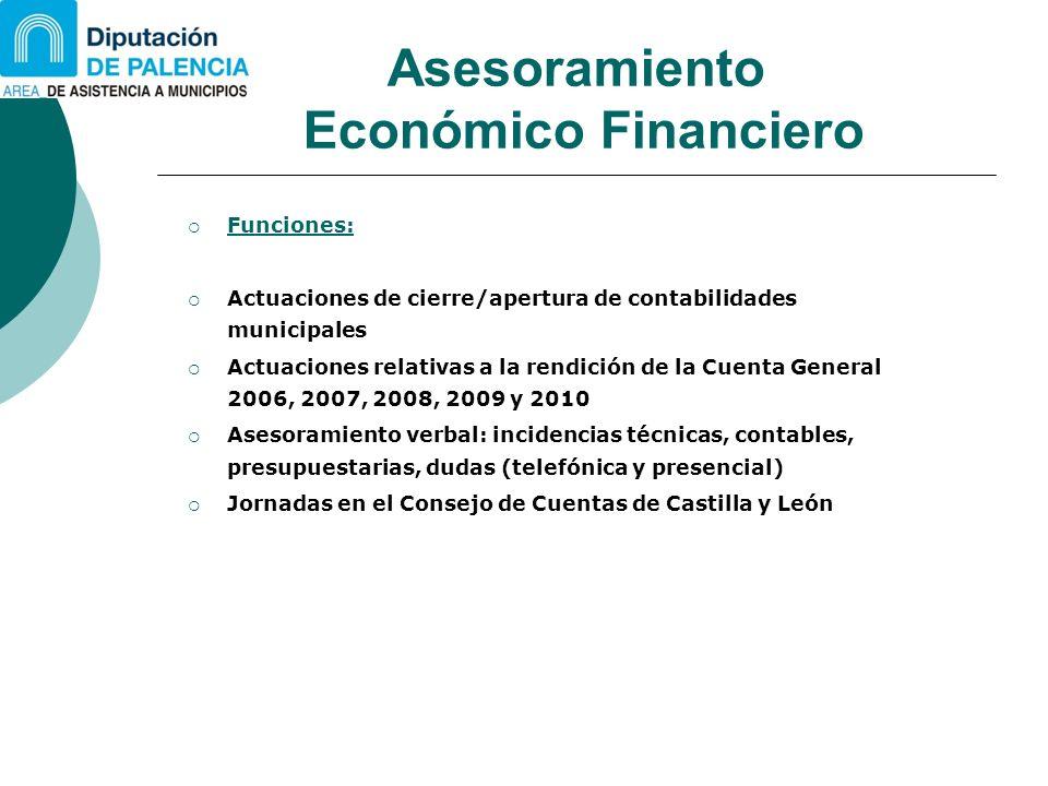 Asesoramiento Económico Financiero Funciones: Actuaciones de cierre/apertura de contabilidades municipales Actuaciones relativas a la rendición de la
