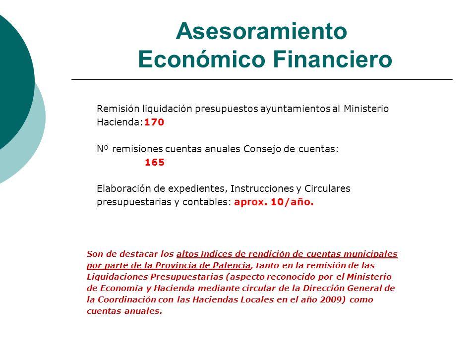 Asesoramiento Económico Financiero Remisión liquidación presupuestos ayuntamientos al Ministerio Hacienda:170 Nº remisiones cuentas anuales Consejo de