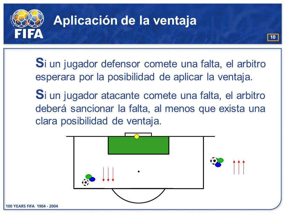 10 Aplicación de la ventaja S i un jugador defensor comete una falta, el arbitro esperara por la posibilidad de aplicar la ventaja. S i un jugador ata