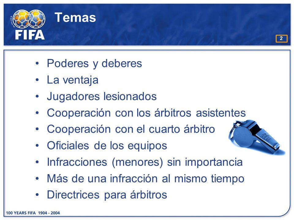 33 L as posiciones propuestas en los siguientes gráficos son básicas y recomendables para los árbitros.