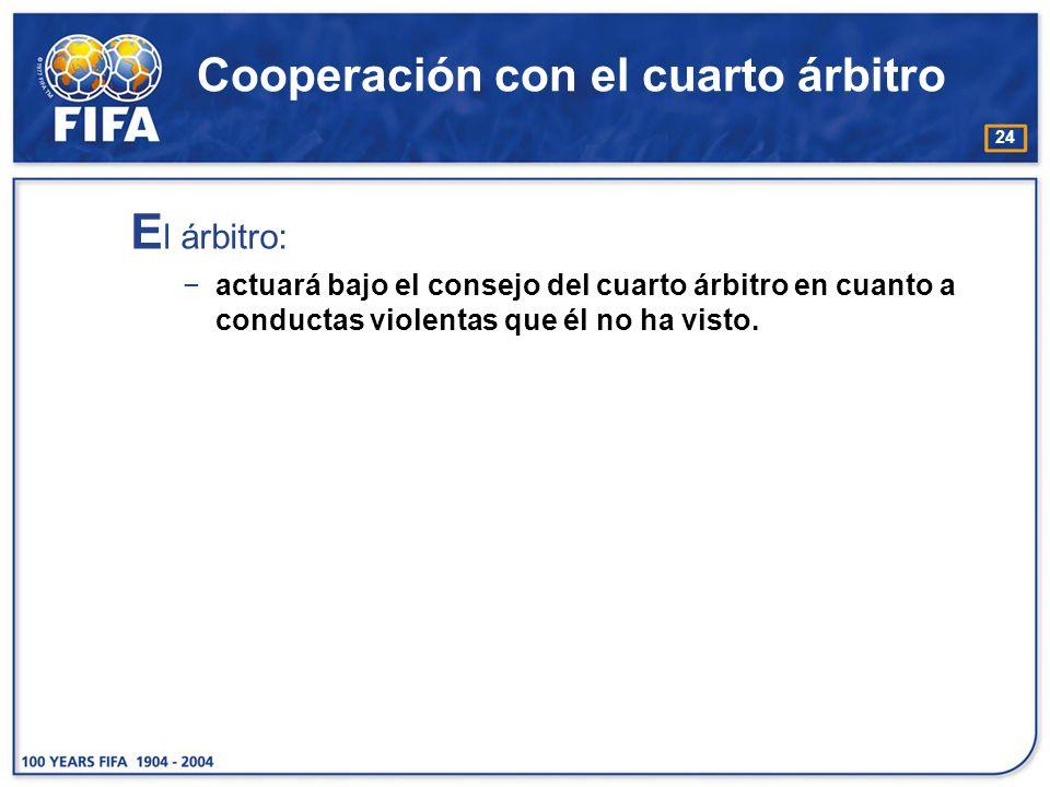 24 Cooperación con el cuarto árbitro E l árbitro: actuará bajo el consejo del cuarto árbitro en cuanto a conductas violentas que él no ha visto.