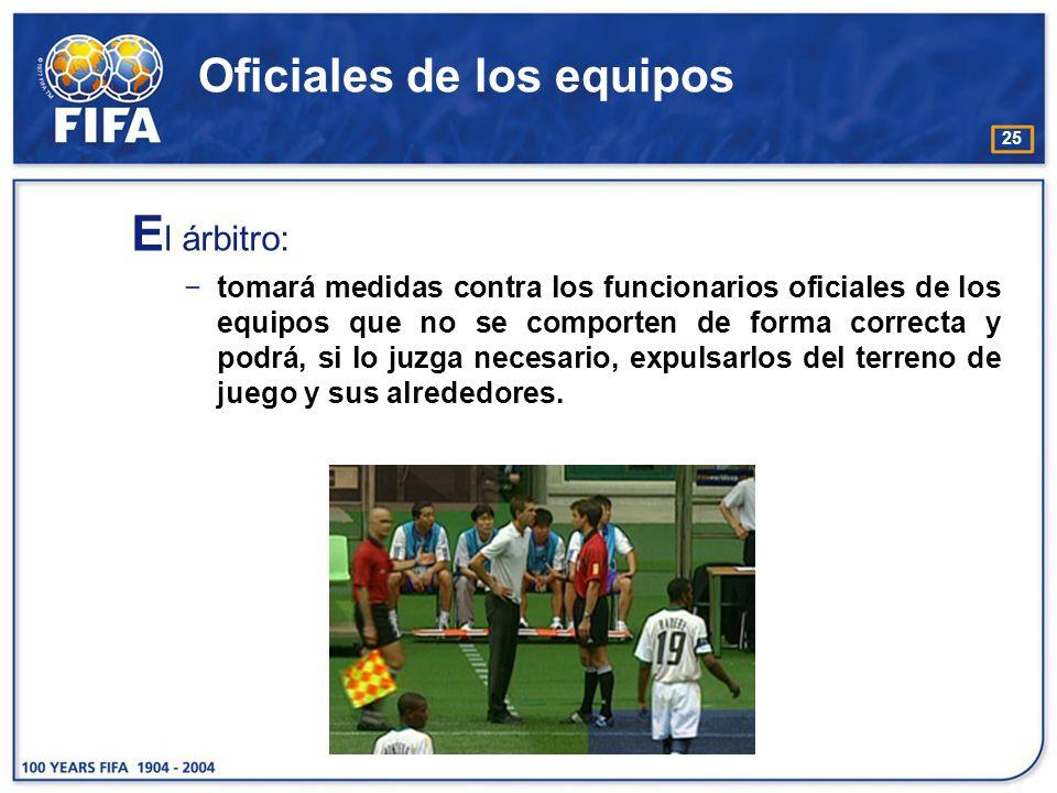 25 Oficiales de los equipos E l árbitro: tomará medidas contra los funcionarios oficiales de los equipos que no se comporten de forma correcta y podrá