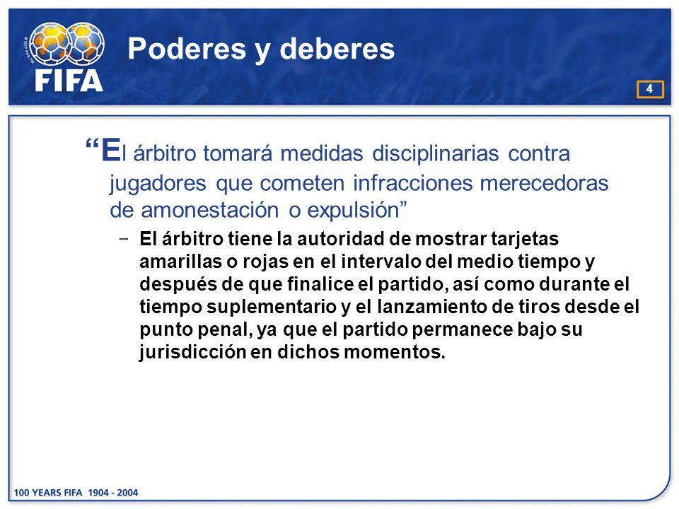 4 Poderes y deberes E l árbitro tomará medidas disciplinarias contra jugadores que cometen infracciones merecedoras de amonestación o expulsión El árb