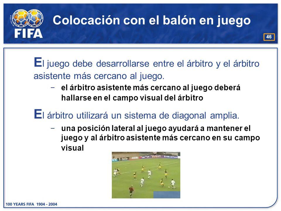 46 Colocación con el balón en juego E l juego debe desarrollarse entre el árbitro y el árbitro asistente más cercano al juego. el árbitro asistente má