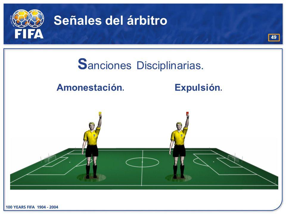 49 Señales del árbitro S anciones Disciplinarias. Amonestación. Expulsión.