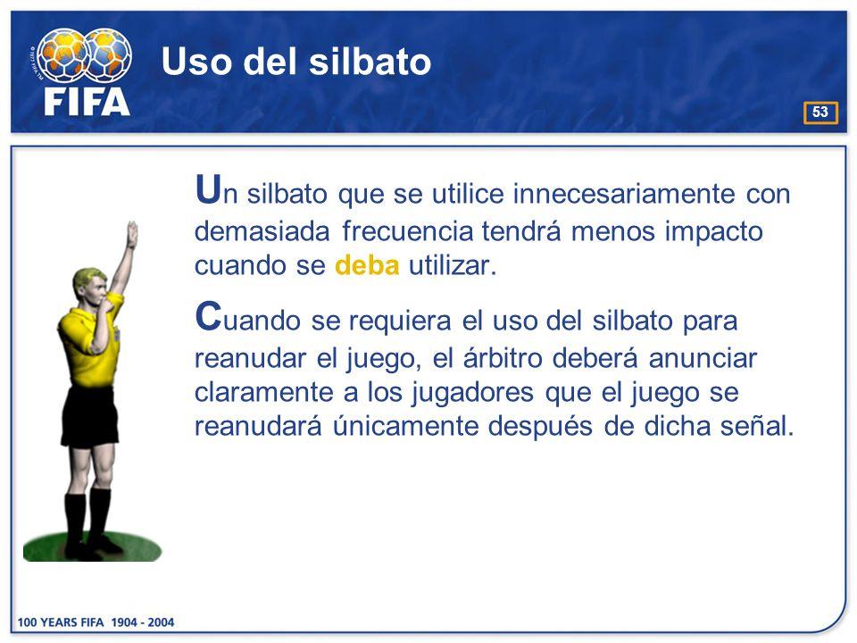 53 Uso del silbato U n silbato que se utilice innecesariamente con demasiada frecuencia tendrá menos impacto cuando se deba utilizar. C uando se requi