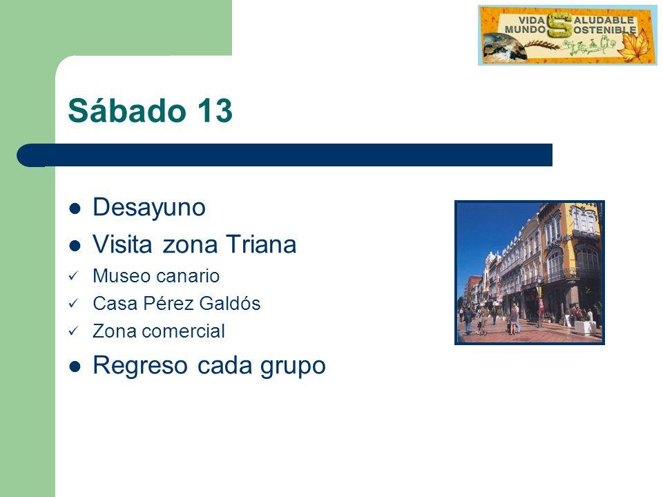 Sábado 13 Desayuno Visita zona Triana Museo canario Casa Pérez Galdós Zona comercial Regreso cada grupo