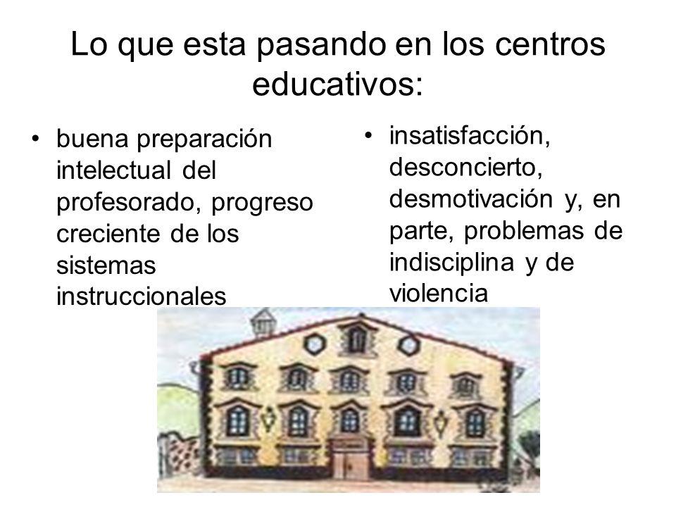 Lo que esta pasando en los centros educativos: buena preparación intelectual del profesorado, progreso creciente de los sistemas instruccionales insat