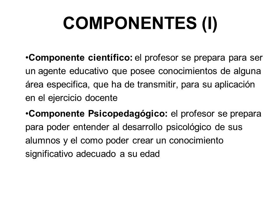 COMPONENTES (I) Componente científico: el profesor se prepara para ser un agente educativo que posee conocimientos de alguna área especifica, que ha d