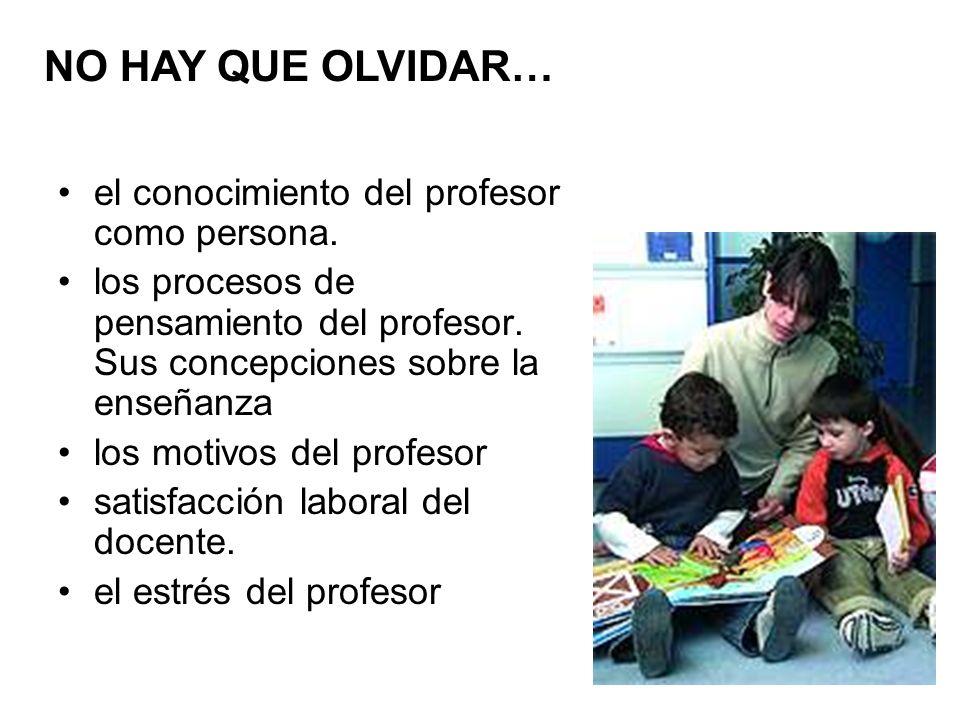 el conocimiento del profesor como persona. los procesos de pensamiento del profesor. Sus concepciones sobre la enseñanza los motivos del profesor sati