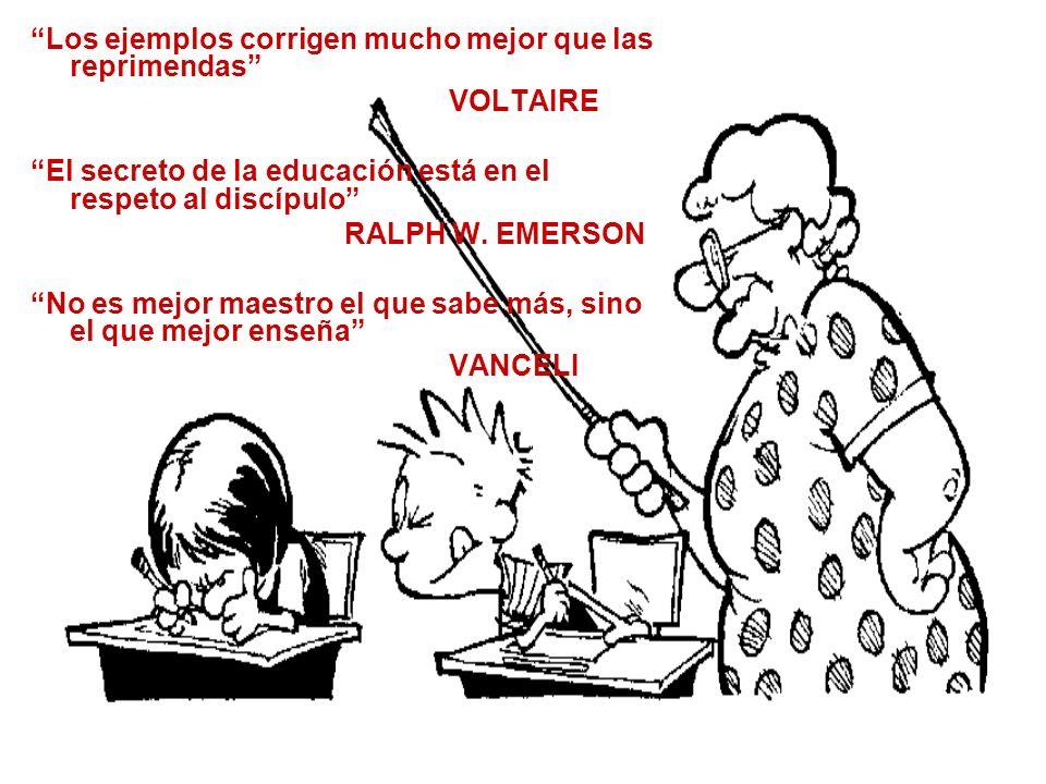 Los ejemplos corrigen mucho mejor que las reprimendas VOLTAIRE El secreto de la educación está en el respeto al discípulo RALPH W. EMERSON No es mejor