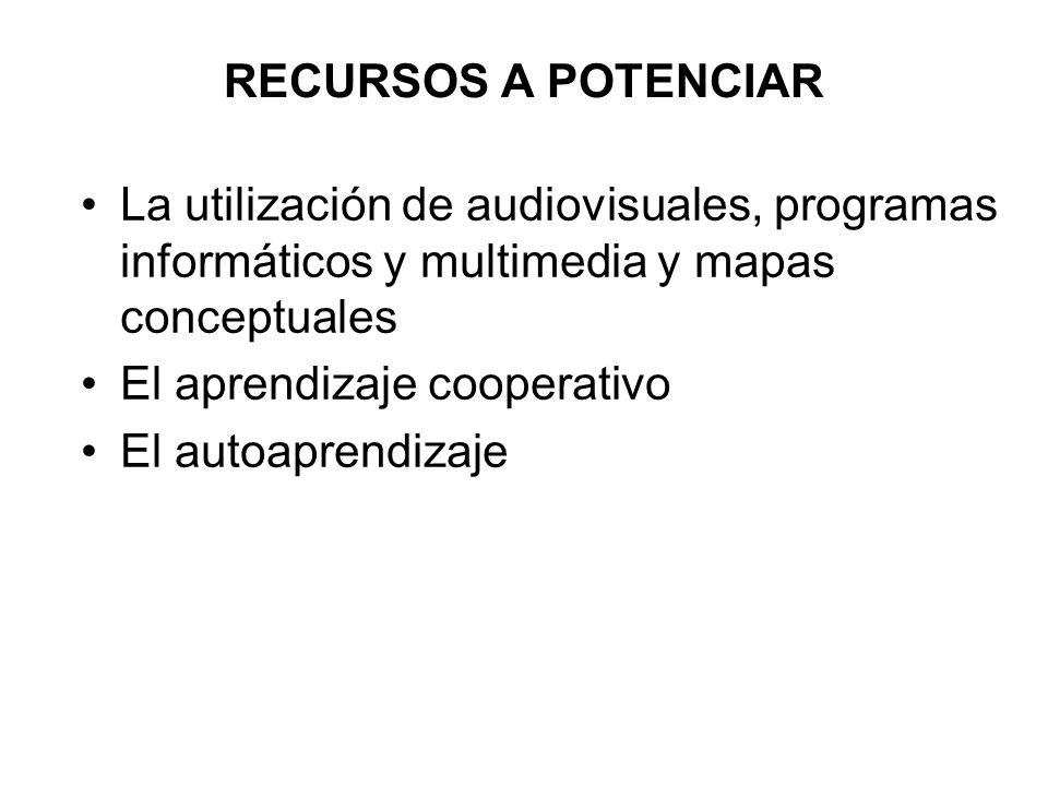 RECURSOS A POTENCIAR La utilización de audiovisuales, programas informáticos y multimedia y mapas conceptuales El aprendizaje cooperativo El autoapren