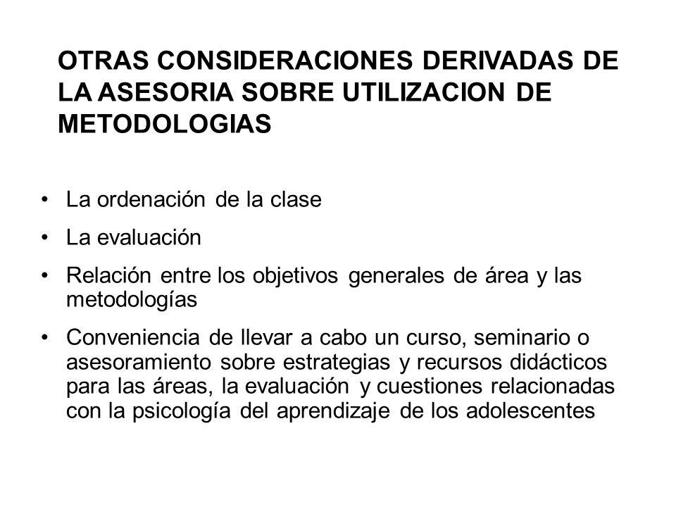 La ordenación de la clase La evaluación Relación entre los objetivos generales de área y las metodologías Conveniencia de llevar a cabo un curso, semi