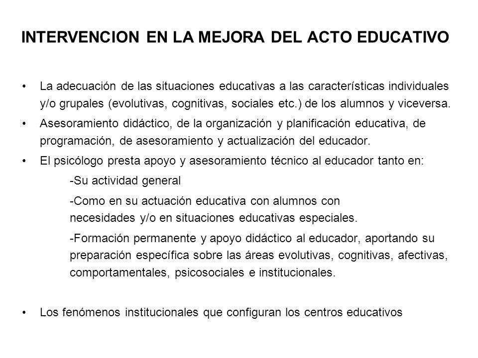 INTERVENCION EN LA MEJORA DEL ACTO EDUCATIVO La adecuación de las situaciones educativas a las características individuales y/o grupales (evolutivas,