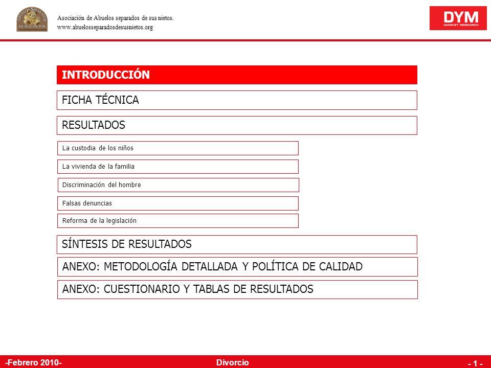 OMNIBUS NACIONAL INDIVIDUOS Estudio realizado por para la ASOCIACIÓN NACIONAL DE ABUELOS SEPARADOS DE SUS NIETOS 10281002-E Febrero de 2010 DIVORCIO A