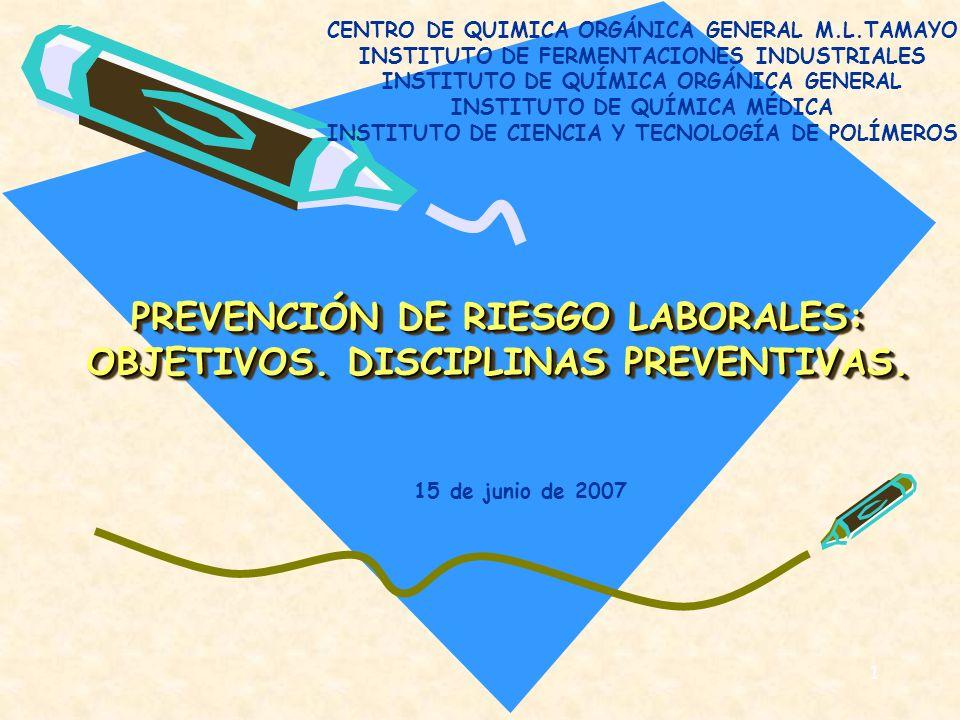 1 PREVENCIÓN DE RIESGO LABORALES: OBJETIVOS. DISCIPLINAS PREVENTIVAS. PREVENCIÓN DE RIESGO LABORALES: OBJETIVOS. DISCIPLINAS PREVENTIVAS. CENTRO DE QU
