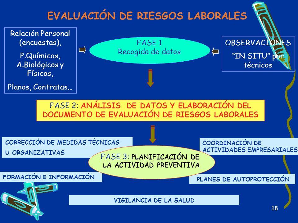 18 EVALUACIÓN DE RIESGOS LABORALES FASE 1 Recogida de datos FASE 2: ANÁLISIS DE DATOS Y ELABORACIÓN DEL DOCUMENTO DE EVALUACIÓN DE RIESGOS LABORALES R