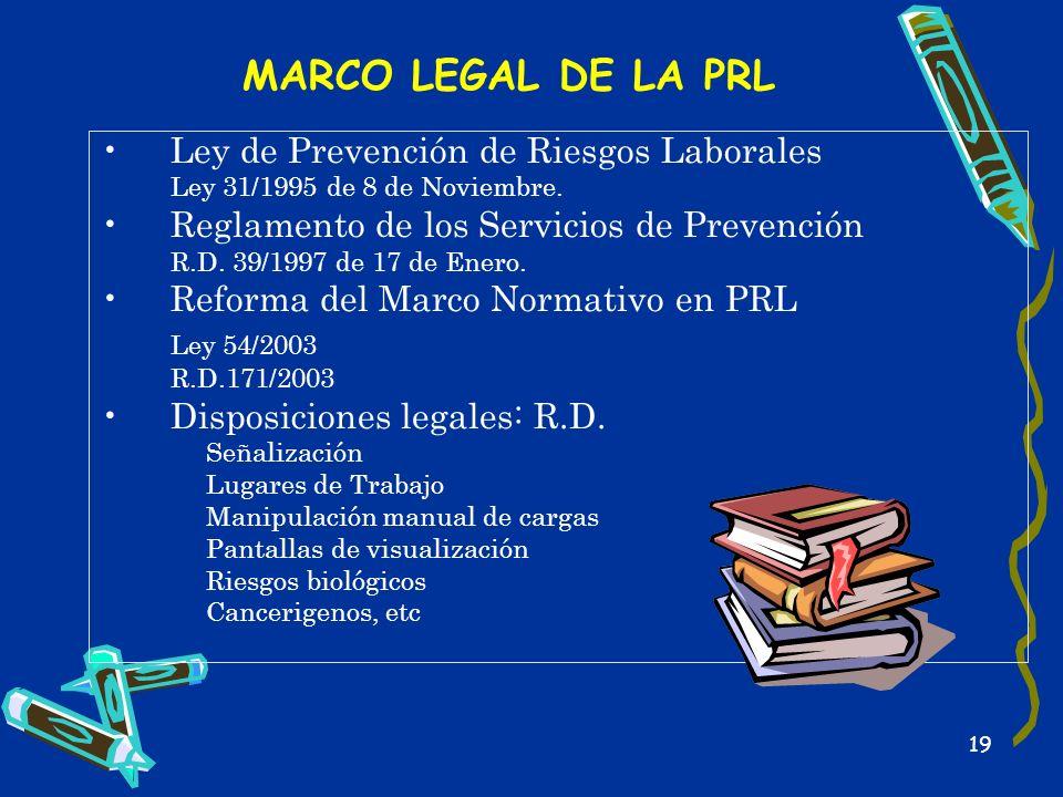 19 MARCO LEGAL DE LA PRL Ley de Prevención de Riesgos Laborales Ley 31/1995 de 8 de Noviembre. Reglamento de los Servicios de Prevención R.D. 39/1997