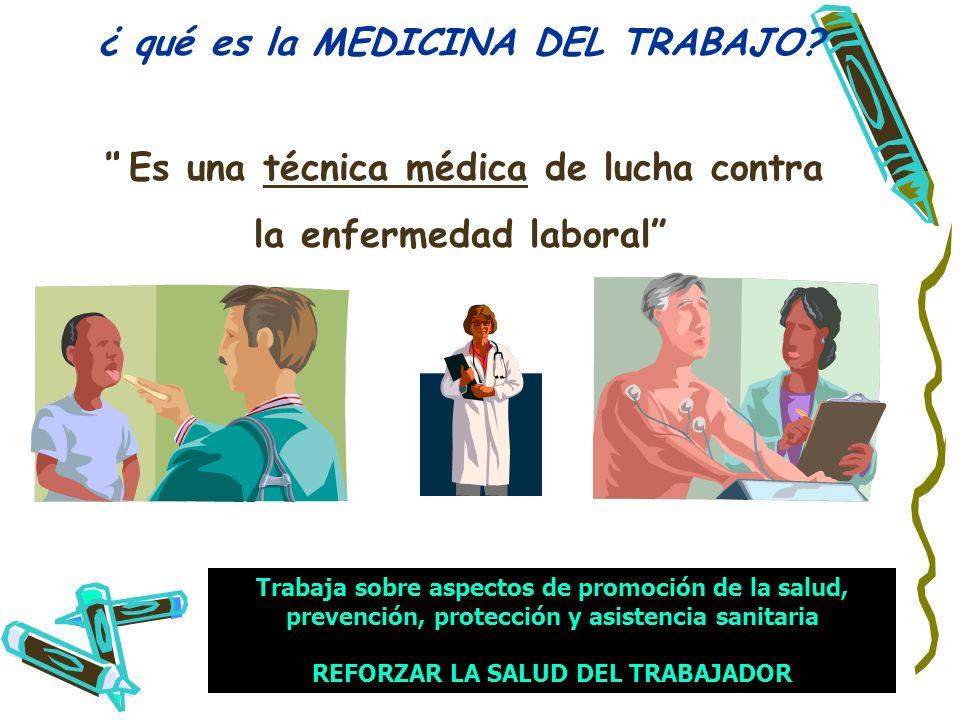 29 ¿ qué es la MEDICINA DEL TRABAJO? Es una técnica médica de lucha contra la enfermedad laboral Trabaja sobre aspectos de promoción de la salud, prev