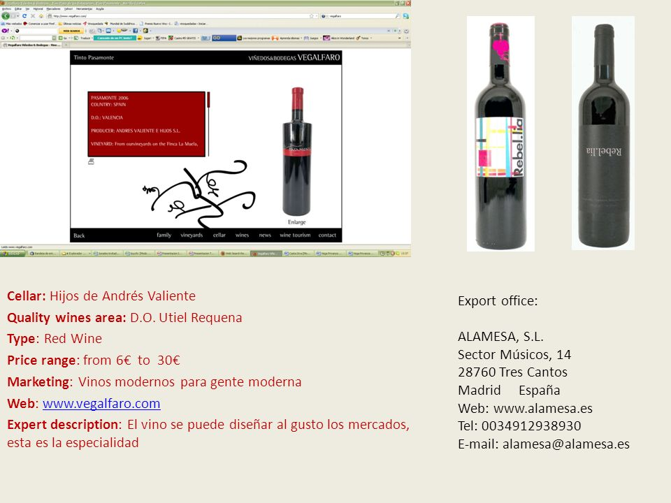 V Cellar: Hijos de Andrés Valiente Quality wines area: D.O.