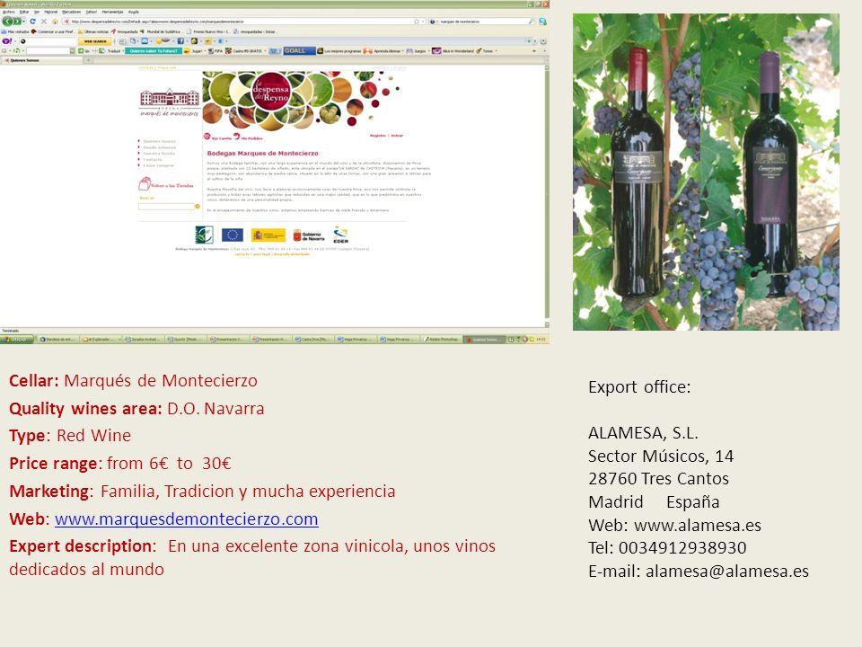 V Cellar: Marqués de Montecierzo Quality wines area: D.O.