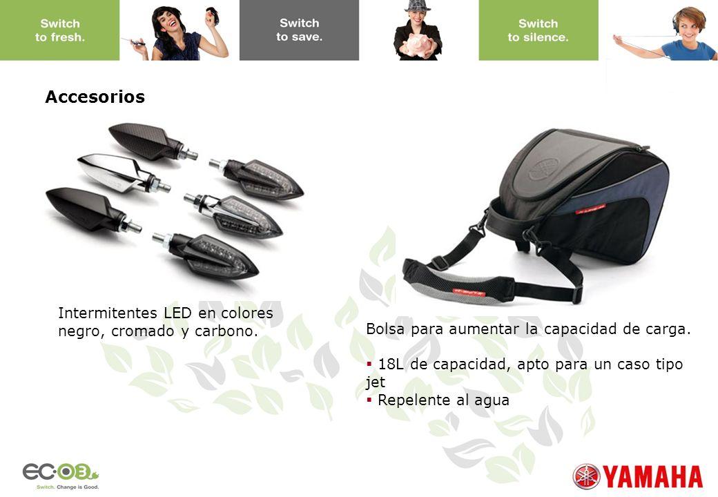 www.yamaha-motor.eu Intermitentes LED en colores negro, cromado y carbono. Bolsa para aumentar la capacidad de carga. 18L de capacidad, apto para un c