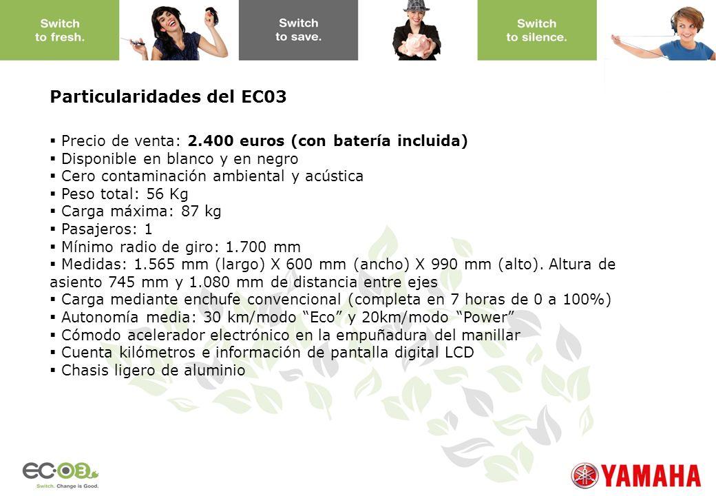 www.yamaha-motor.eu Particularidades del EC03 Precio de venta: 2.400 euros (con batería incluida) Disponible en blanco y en negro Cero contaminación a