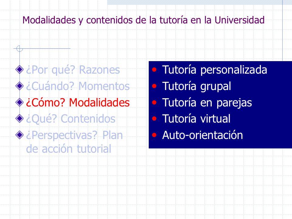 Modalidades y contenidos de la tutoría en la Universidad ¿Por qué? Razones ¿Cuándo? Momentos ¿Cómo? Modalidades ¿Qué? Contenidos ¿Perspectivas? Plan d