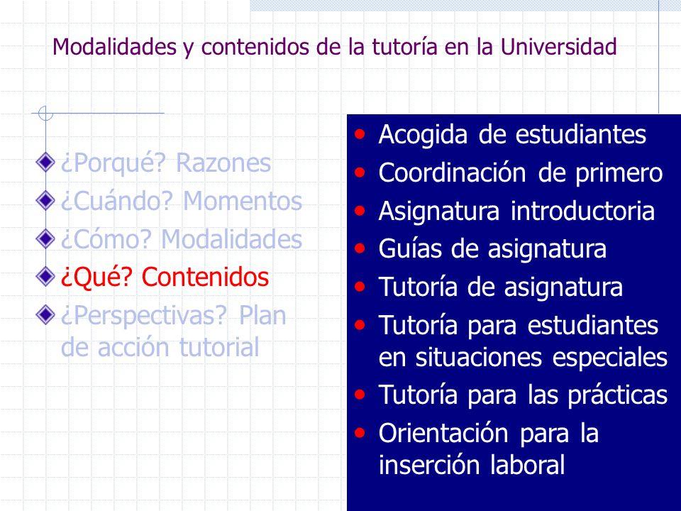 Modalidades y contenidos de la tutoría en la Universidad ¿Porqué? Razones ¿Cuándo? Momentos ¿Cómo? Modalidades ¿Qué? Contenidos ¿Perspectivas? Plan de