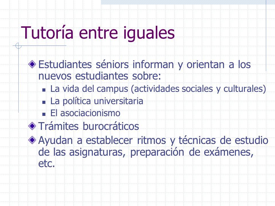 Tutoría entre iguales Estudiantes séniors informan y orientan a los nuevos estudiantes sobre: La vida del campus (actividades sociales y culturales) L