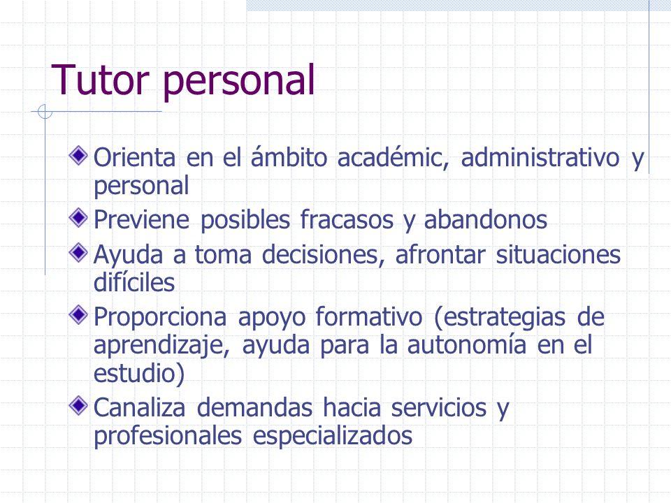 Tutor personal Orienta en el ámbito académic, administrativo y personal Previene posibles fracasos y abandonos Ayuda a toma decisiones, afrontar situa