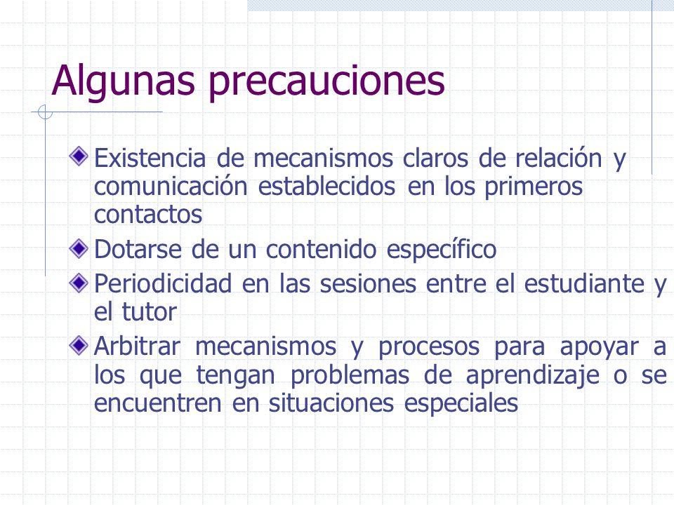 Algunas precauciones Existencia de mecanismos claros de relación y comunicación establecidos en los primeros contactos Dotarse de un contenido específ