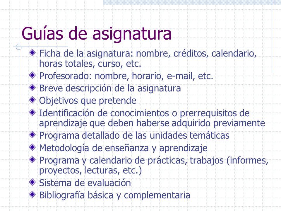 Guías de asignatura Ficha de la asignatura: nombre, créditos, calendario, horas totales, curso, etc. Profesorado: nombre, horario, e-mail, etc. Breve